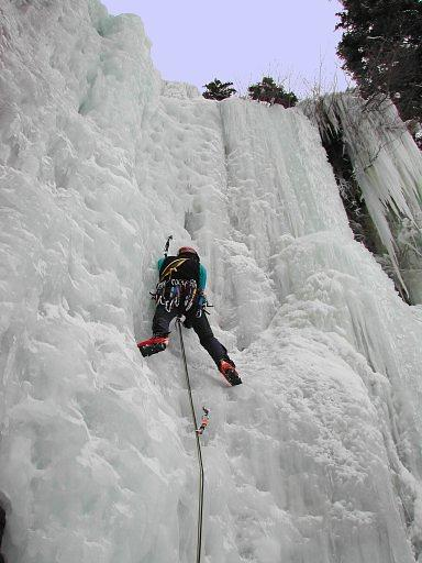 Ben leading up the Spiral Staircase ice climb at Vail, Colorado