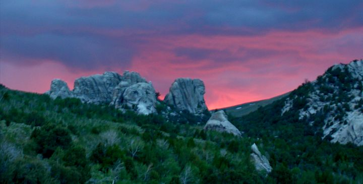 Sunset behind Upper and Lower Breadloaves, City of Rocks, Idaho