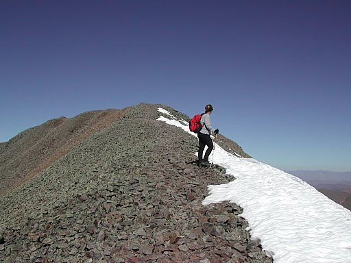 Resting on the southeast ridge, just 5 minutes short of the summit of San Luis Peak.