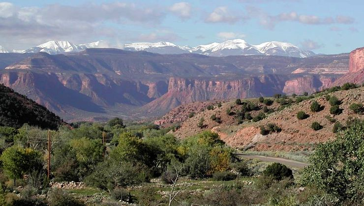 View of the La Sal Mountains, from the west end of Unaweep Canyon