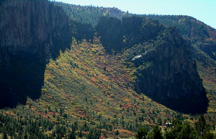 Fall colors across Unaweep Canyon, as seen from the Base of Sunday Wall