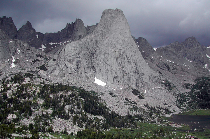 Pingora Peak with Wolf's Head in the background and a storm overhead, Cirque of the Towers, Wind River Range, Wyoming