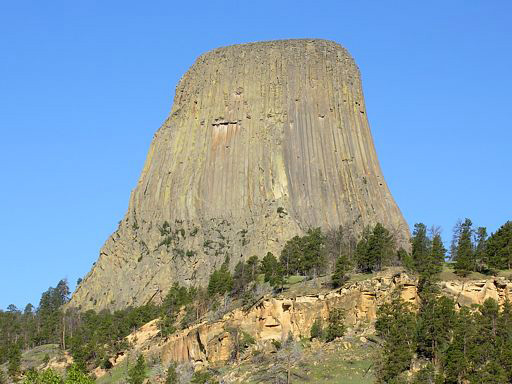 Devils Tower from the SE, taken from the camping area outside the main gate