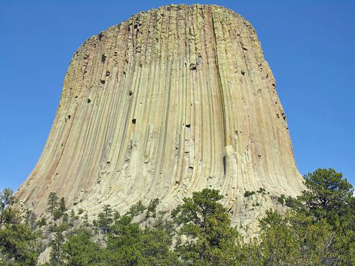 View of Devils Tower from the Visitors Center at the base of the tower