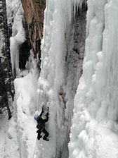 Chris Warner of Santa Barbara, California, climbing Dead Ringer on the Five Finger Wall in the Ouray Ice Park, Ouray, Colorado